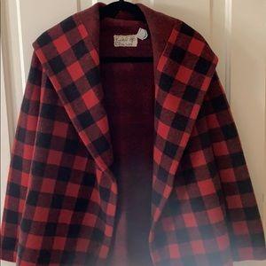 Anthropologie Buffalo check sweater jacket